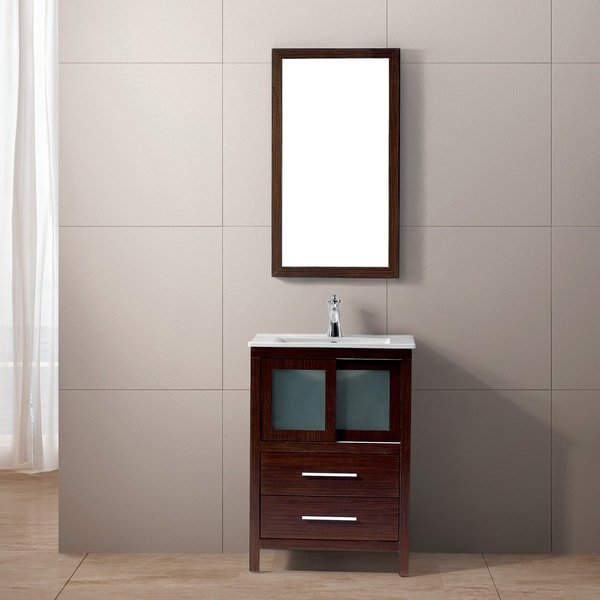 Vigo alessandra single freestanding vanity with sink and mirror free shipping today for Freestanding 24 inch bathroom vanity