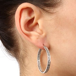 La Preciosa Sterling Silver Cubic Zirconia Hoop Earrings - Thumbnail 2