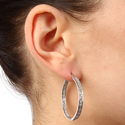 La Preciosa Sterling Silver Cubic Zirconia Hoop Earrings