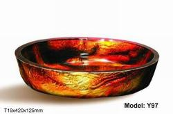 Brown Modern Tempered Glass Vessel Bathroom Sink - Thumbnail 1