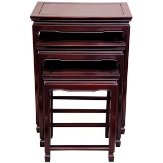 Handmade Set of 3 Rosewood Cherry Nesting Tables (China)