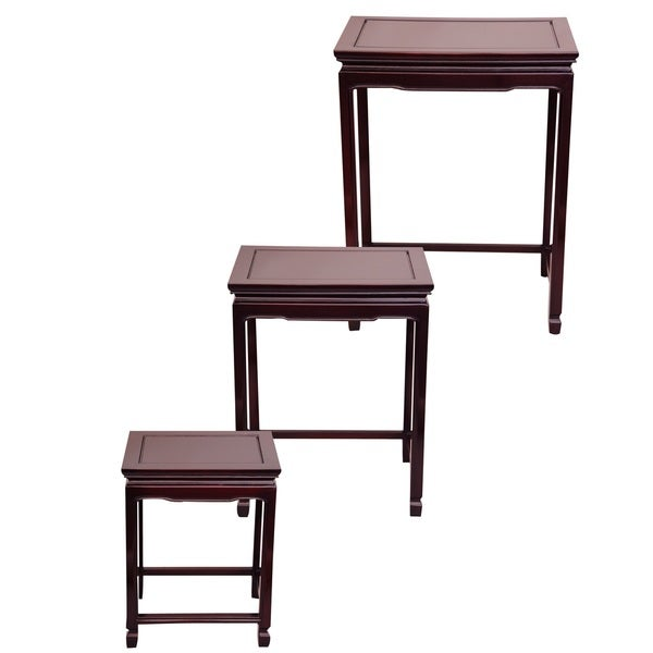 Handmade Set Of 3 Rosewood Cherry Nesting Tables (China)   Free Shipping  Today   Overstock.com   13439212