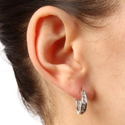 La Preciosa Silver Cubic Zirconia Inside-out Small Hoop Earrings - Thumbnail 2