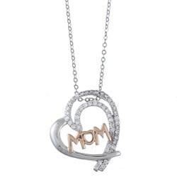 """La Preciosa Sterling Silver Cubic Zirconia """"Mom"""" Necklace"""