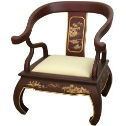 Handmade Wood Red Landscape Ming Chair (China)
