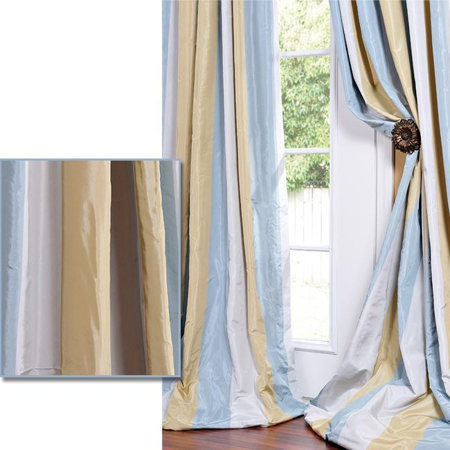 Exclusive Fabrics Striped Faux Silk Taffeta Blue/ Hemp Tone Curtain Panel