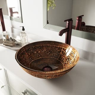 VIGO Golden Greek Glass Vessel Sink and Faucet Set in Oil Rubbed Bronze|https://ak1.ostkcdn.com/images/products/5698665/P13439245.jpg?impolicy=medium