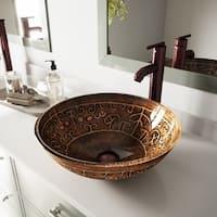 VIGO Golden Greek Glass Vessel Bathroom Sink Set With Seville Vessel Faucet In Oil Rubbed Bronze