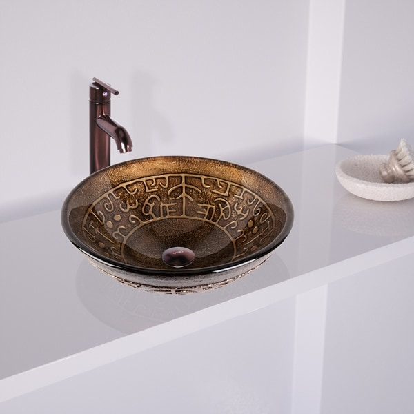 Vigo Golden Greek Gl Vessel Bathroom Sink Set With Seville Faucet In Oil Rubbed Bronze