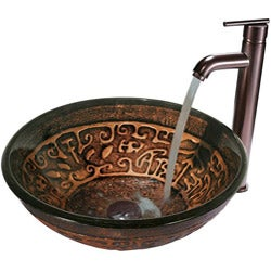 VIGO Golden Greek Glass Vessel Sink and Faucet Set in Oil Rubbed Bronze