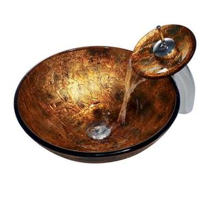 VIGO Copper Shapes Glass Vessel Sink and Waterfall Faucet Set in Chrome