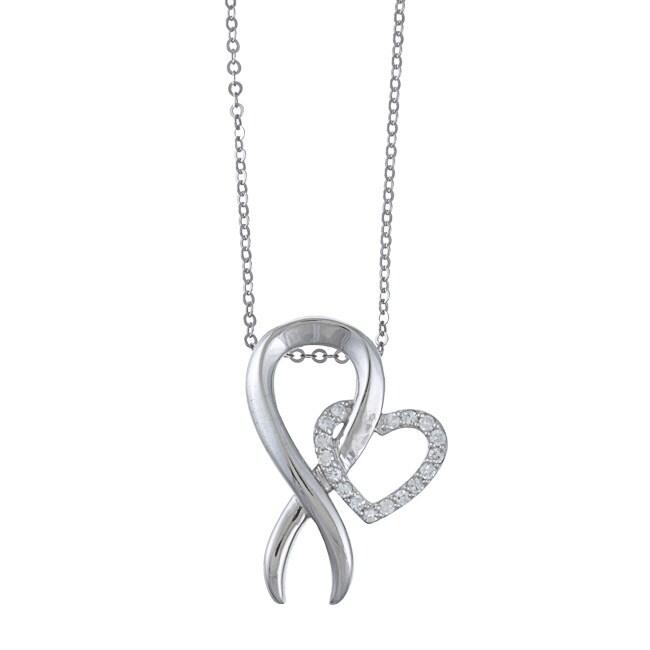 La Preciosa Sterling Silver Cubic Zirconia Breast Cancer Ribbon Necklace