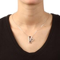 La Preciosa Sterling Silver Cubic Zirconia Breast Cancer Ribbon Necklace - Thumbnail 2
