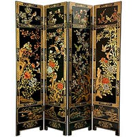 Handmade Wooden 6-foot Four Seasons Flowers Room Divider (China)