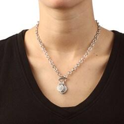 La Preciosa Sterling Silver Cubic Zirconia Double Heart Toggle Necklace - Thumbnail 2