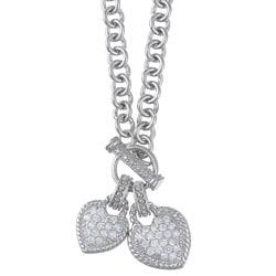 La Preciosa Sterling Silver Cubic Zirconia Double Heart Toggle Necklace