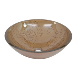 Autumn Daisy Tempered Glass Vessel Sink by Flotera