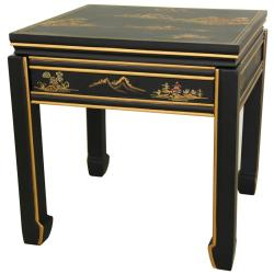 Handmade Wooden 18-inch Black Square Ming Table (China) - Thumbnail 0