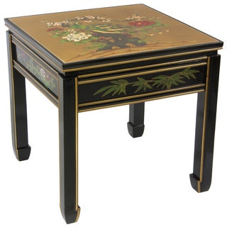 Wooden 18-inch Black/ Gold Leaf Square Ming Table (China)