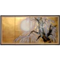 Handmade Silk 36x72-inch Gold Leaf Sakura Blossom Wall Art (China)