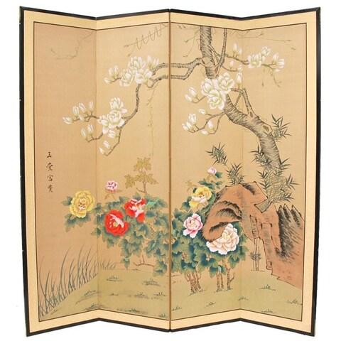Handmade Wood and Silk 3-foot Harmony in Nature Room Divider (China)