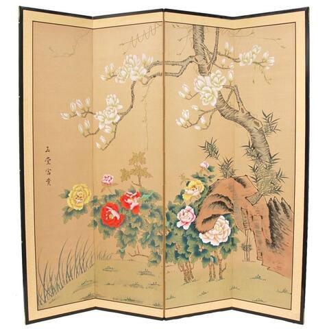 Handmade 3' Wood and Silk Harmony in Nature Room Divider