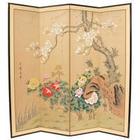 Handmade Wood and Silk 3-foot Harmony in Nature Room Divider (China)