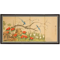 Handmade Wood and Silk 24 Inch Birds and Flowers Screen (China)
