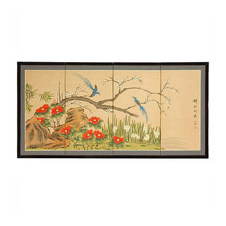 Handmade Wood and Silk 18 Inch Birds and Flowers Screen (China)