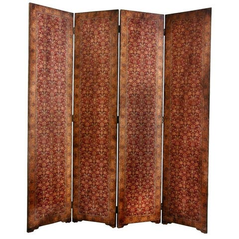 Handmade 6' Faux Leather Old World Rococo Room Divider
