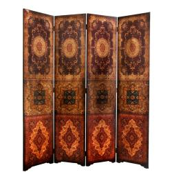 Handmade Faux Leather 6-foot Olde-Worlde Baroque Room Divider (China)