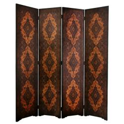 Handmade Faux Leather 6-foot Olde-Worlde Classical Room Divider (China)