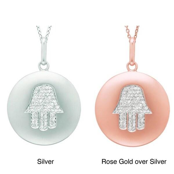 Sterling Silver 1/5ct TDW Diamond Hamsa Fashion Necklace