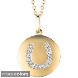 14k Gold over Silver 1/10ct TDW Diamond Horseshoe Necklace (H-I, I2-I3)