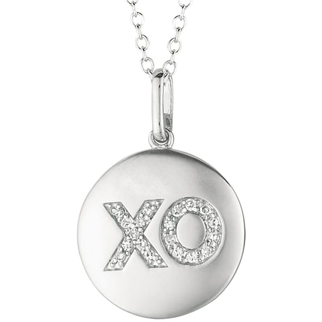 14k White Gold and Silver 1/10ct TDW Diamond Accent 'XO' Necklace (H-I, I2-I3)
