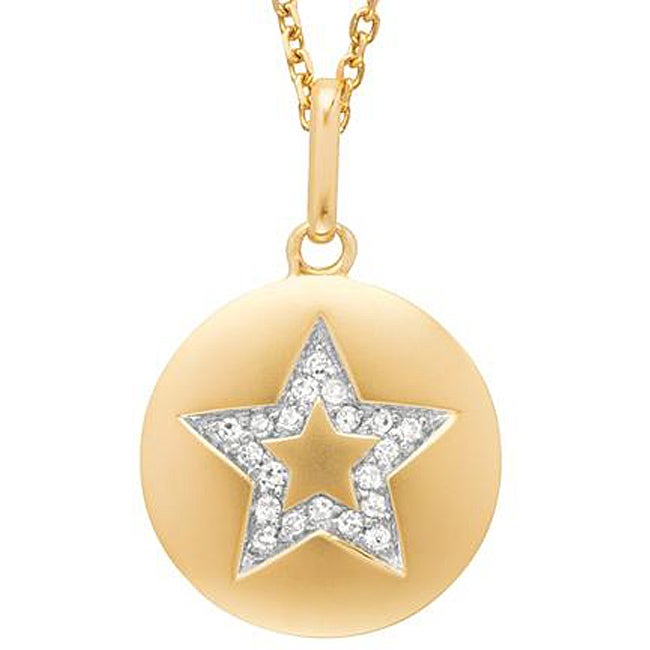 14k Yellow Gold Sterling Silver 1/10ct TDW Diamond Accent Star Necklace (H-I, I2-I3)