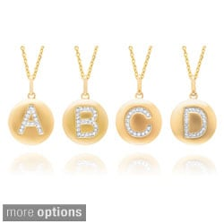 14k Yellow Gold Overlay Diamond Accent Initial Monogram Necklace