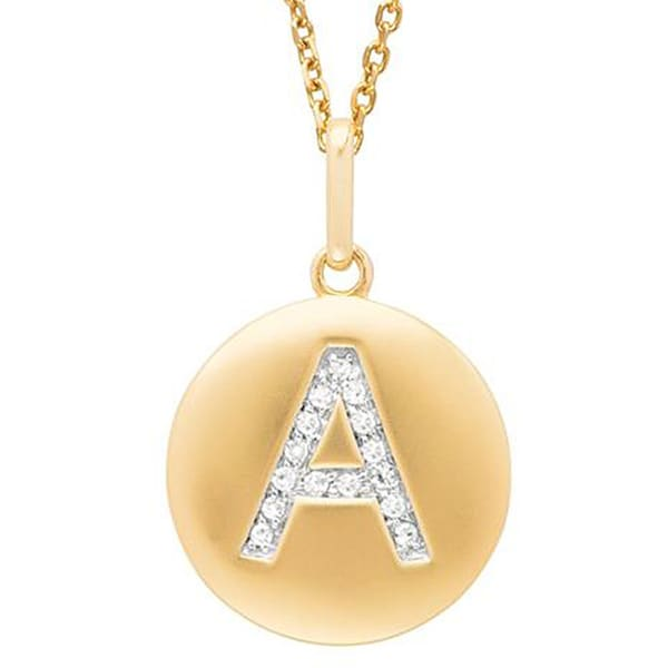 Yellow Gold Overlay Diamond Accent Initial Monogram Necklace