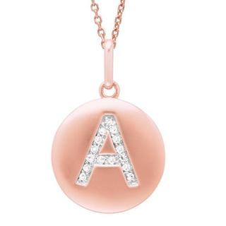 14k Pink Gold Overlay Diamond Accent Initial Monogram Necklace