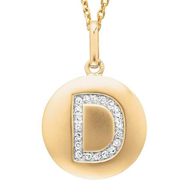 14k Gold Overlay 1/10ct TDW Diamond Initial 'D' Necklace (H-I, I2-I3)