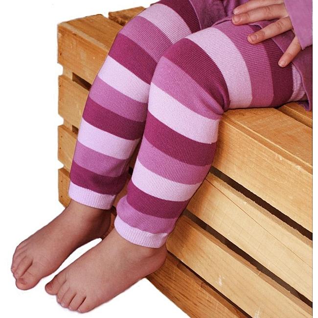 Warm Lavender Striped Baby Leg Warmers