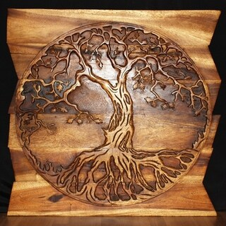 Monkey Pod Wood Uneven Tree of Life 36-inch Wall Hanging , Handmade in Thailand