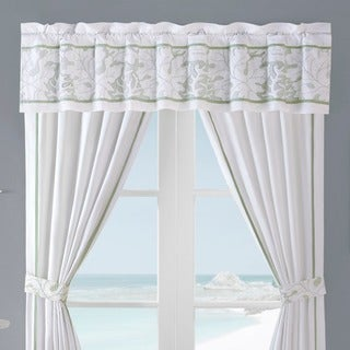 Harbor House Brisbane White Cotton Lined Window Valance with Embroidery Detailing Rod Pocket Top Finish