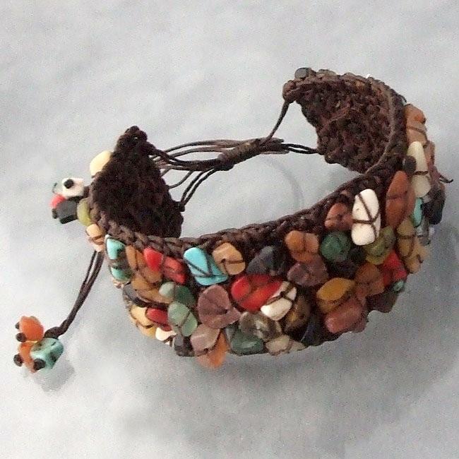 Cotton Multicolor Gemstone Pull Bracelet (Thailand)