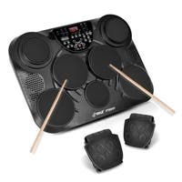 Pyle PTED01 Electronic Table Top Drum Kit 7 Pad 2 Pedals 25 Preset Drum Kits