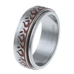 Stainless Steel Men's Brown Ion-plated Flame Design Spinner Ring (8 mm)