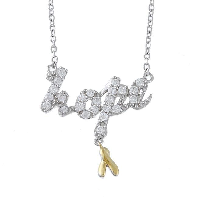 La Preciosa Sterling Silver Clear Cubic Zirconia 'Hope' Necklace