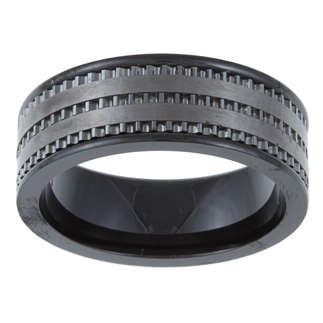 Black Ceramic Men's Milligrain Band (6 mm)