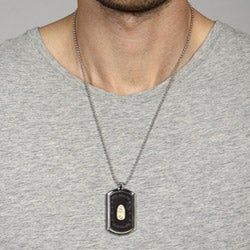 Stainless Steel and 10k Gold Guadalupe Dog Tag Necklace - Thumbnail 2