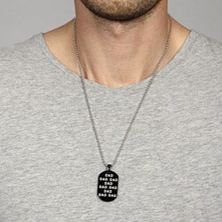Black Ion-plated Stainless Steel 'DAD' Dog Tag with Ball Chain Necklace